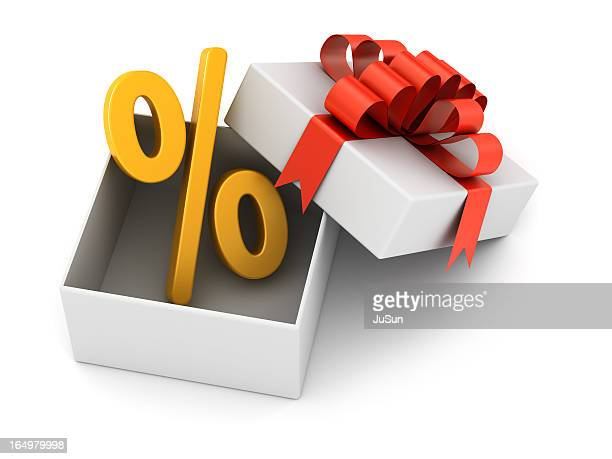 discount in the gift - percentage sign stock pictures, royalty-free photos & images