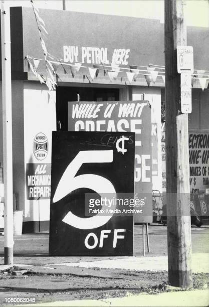 Discount Petrol Signs Outside Service Stations Outside Ampol on the Princee's Highway at Kogarah April 12 1977