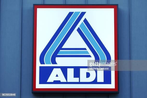 Discount supermarket logo stands on January 8 2018 in Berlin Germany According to government statisticians nominal revenue grew compared to the...