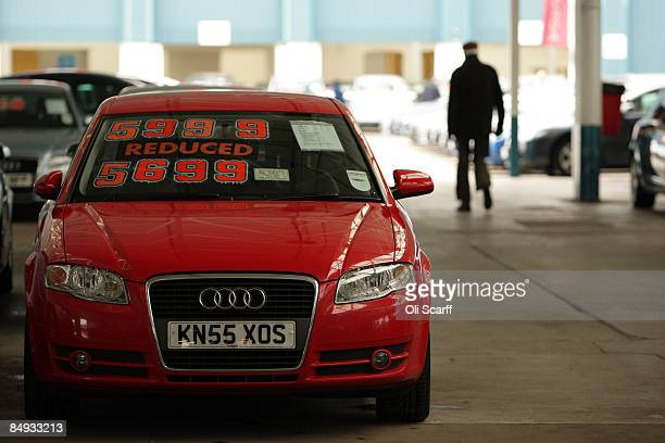 A discounted Audi car is parked amongst the thousands of cars on sale at Cargiant the world's largest car supermarket in White City on February 18...