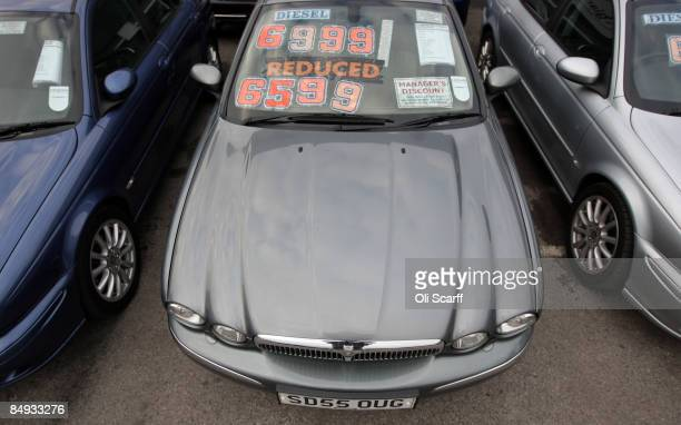 A discounted Jaguar car is parked amongst the thousands of cars on sale at Cargiant the world's largest car supermarket in White City on February 18...