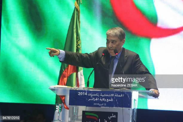 Discours d'Ali Benflis lors de son meeting de clôture de la campagne présidentielle le 13 avril 2014 à Rouiba, près d'Alger, Algérie.