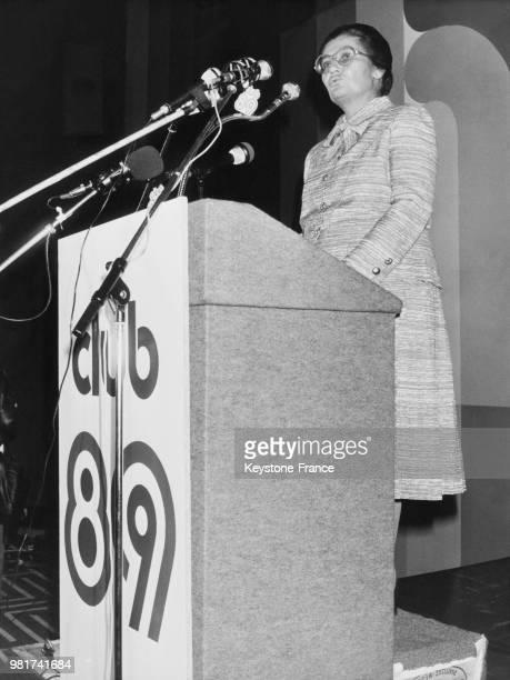 Discours de Simone Veil lors de l'anniversaire des clubs 89 à l'hôtel PLM Saint Jacques à Paris en France le 10 octobre 1983