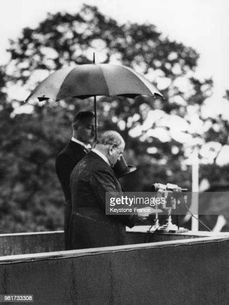 Discours d'Edouard Daladier au palais de Chaillot à Paris en France le 14 juillet 1939