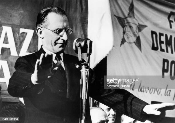 Discours électoral d'Alcide de Gasperi à Milan Italie le 17 avril 1948
