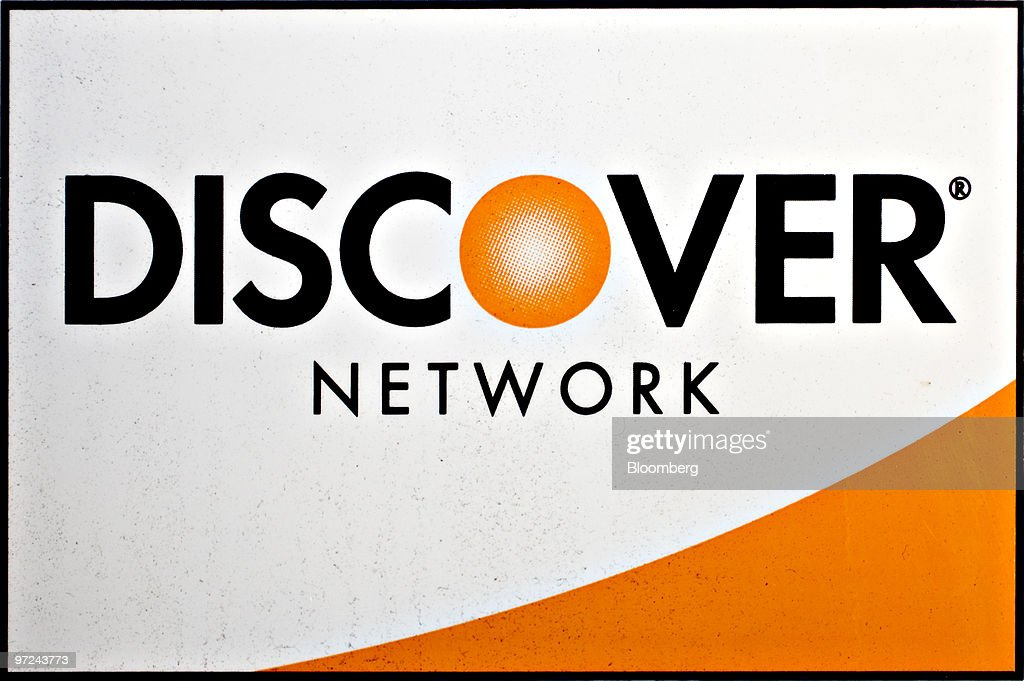 A Discover Financial Services credit card logo is pictured in New
