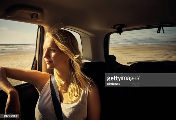discover the world from the back seat of your car - passeggero foto e immagini stock