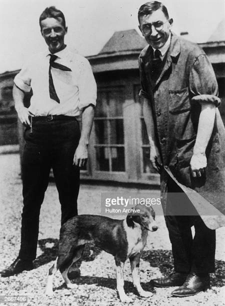 Discoverers of insulin Charles Best and Frederick Banting on the roof of the medical building Toronto University with one of the first diabetic dogs...