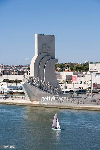 Discoveries Monument (Padrao dos Descobrimentos) and marina, from Tagus River.