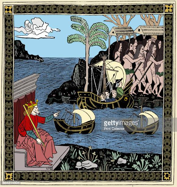 Discovering America woodcut 1493 Ferdinand II of Aragon points to Columbus in Santa Maria as she approaches land with the Pinta and Nina Said to be...