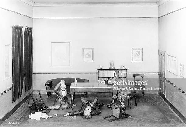Discovering the anaesthetic properties of chloroform Model scene showing Sir James Young Simpson and two friends discovering the anaesthetic...