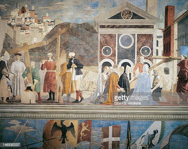 Discovery and verification of the True Cross, detail from the Legend of the True Cross, 1452-1466, by Piero della Francesca , fresco. Church of San...
