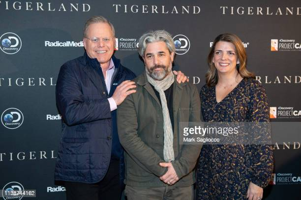 Discovery Channel President David Zaslav Director Ross Kauffman and Discovery Chief Brand Officer Nancy Daniels attend the Tigerland New York...
