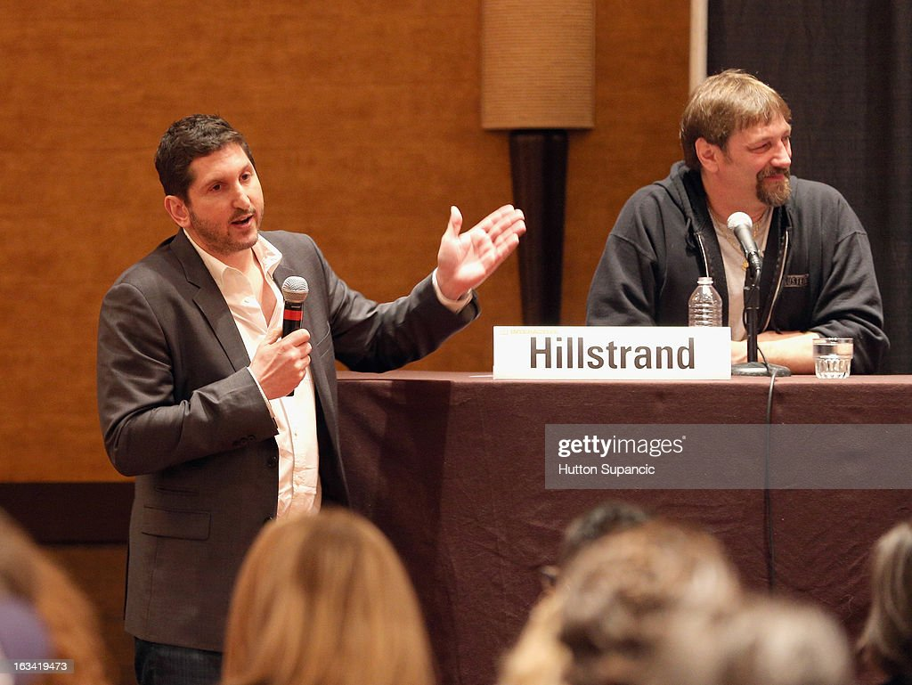 Discovery Channel's David Pritikin and TV personality Jonathan Hillstrand speak onstage at Deadliest Catch's Twitter For Tough Guys during the 2013 SXSW Music, Film + Interactive Festival at Hyatt Regency Austin on March 9, 2013 in Austin, Texas.