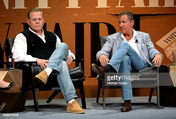 Discovery Communications President and CEO David Zaslav and HBO Chairman and CEO Richard Plepler speak onstage during Who Owns Your Screen at the...