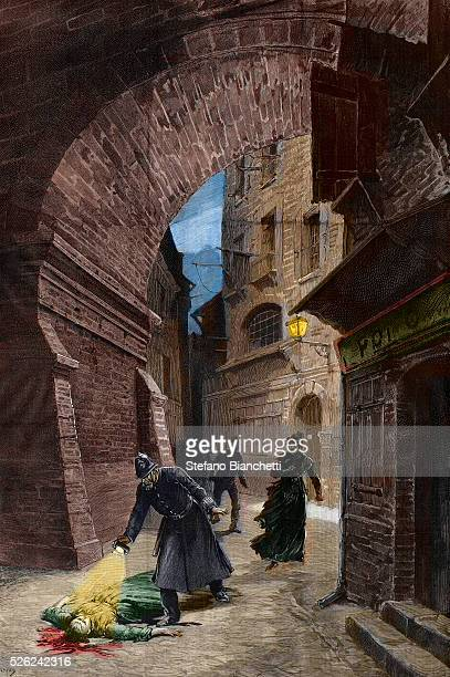 Discovery of a victim of Jack the Ripper Whitechapel London1888 engraving of Fortune Louis Meaulle