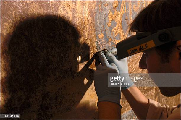 Discovery of paintings on the walls of a refectory of the museum of the French army at The Invalides in Paris France on May 19 2005 A craftsperson...