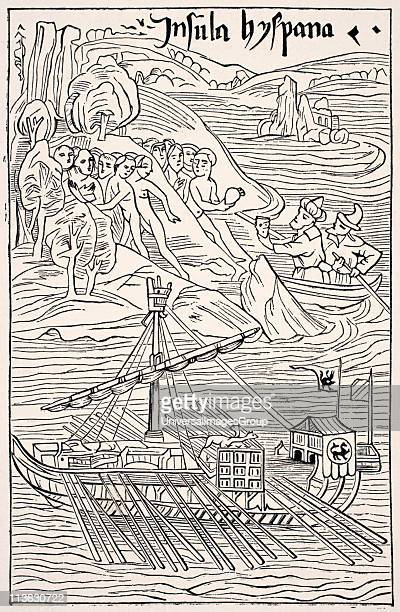 Discovery of Santo Domingo Insula Hyspana by Christopher Columbus After a sketch which is attributed to him and in which he is himself made to appear...