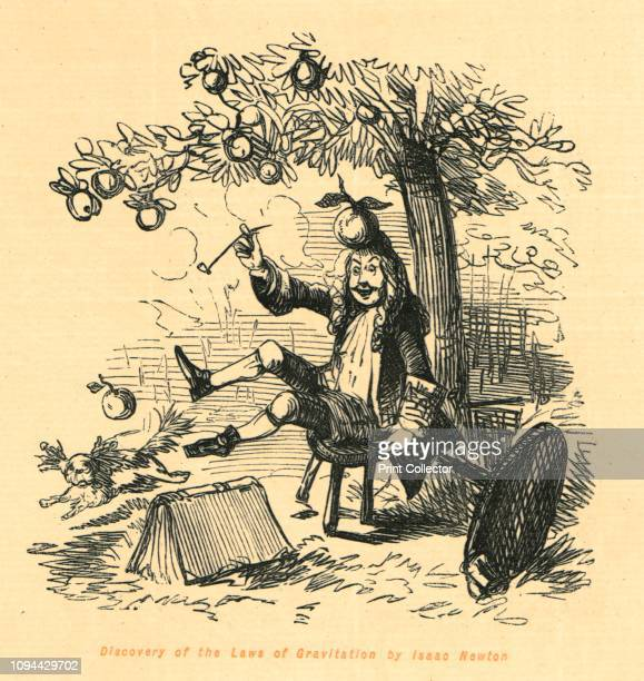 Discovery of the Laws of Gravitation by Isaac Newton', 1897. English scientist Isaac Newton discovered gravity when he watched an apple fall,...