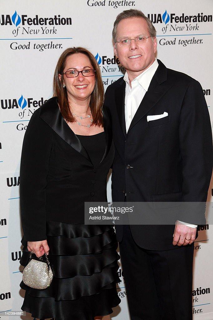 Discovery President David Zaslav (right) and wife Pam Zaslav attend the 2012 UJA-Federation Of New York's Leadership Awards Dinner at 583 Park Avenue on April 3, 2012 in New York City.