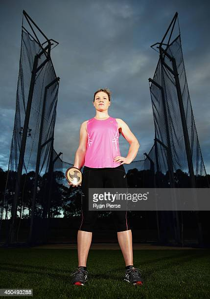 Discus thrower Dani Samuels of Australia poses during a portrait session at Sydney Olympic Park on May 30 2014 in Sydney Australia