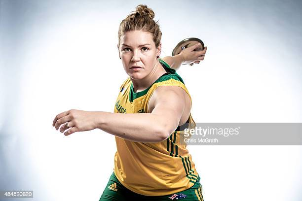 Discus thrower Dani Samuels of Australia poses for a portrait during a photo session at the Athletics Australia training camp on August 17 2015 in...