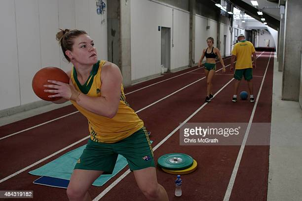 Discus thrower Dani Samuels of Australia trains during the Australian Flame Team Camp training session held at Kimidera Athletics Stadium on August...