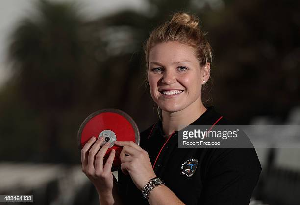 Discus thrower Dani Samuels poses for photos during the announcement of the Australian Commonwealth Games athletics team at Lakeside Stadium on April...