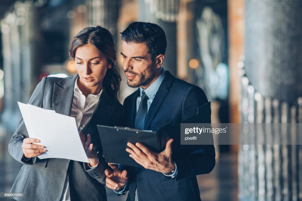 Discussing important documentation : Stock Photo