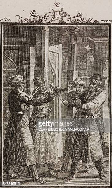 Discussion between Teocrate Lysimachus Sidon and Cleonte engraving by Antonio Viviani from a drawing by G Steneri from Zoroaster Act IV Scene 2...