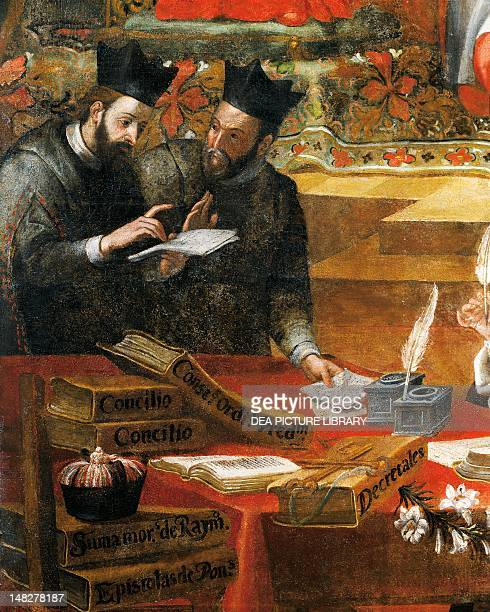 Discussion between two Jesuits detail from St Raymond of Penafort advisor to Pope Gregory IX by Alonso Antonio Villamor From the St Steven's Convent...