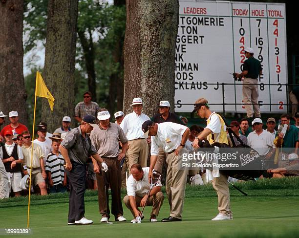 Discussion following the collision of golf balls of Jack Nicklaus and Hale Irwin during the US Open Golf Championship held at the Congressional...
