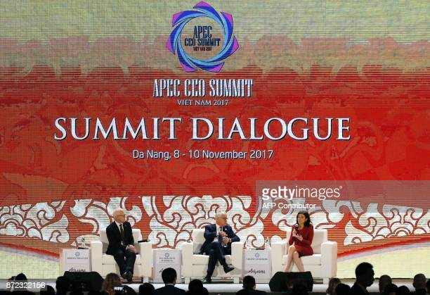 Discussion moderator Robert Milliner senior adviser of international affairs for Wesfarmes Limited and Australia's Prime Minister Malcolm Turnbull...