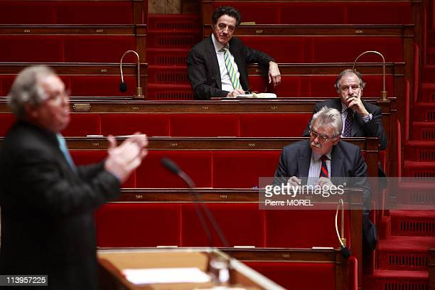 Discussion on the draft law on GMOs to the National Assembly In Paris France On April 02 2008Yves Cochet Noel Mamere and Andre Chassaigne listen...