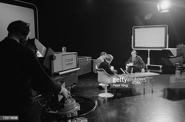 A discussion programme being filmed at the BBC Television Centre in White City London October 1967