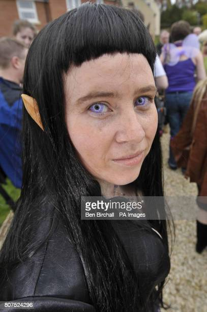 Discworld fan Aine Doherty aged 31 from Northern Ireland dressed as an elf for a visit by author Sir Terry Pratchett OBE to Kingwell Rise the small...