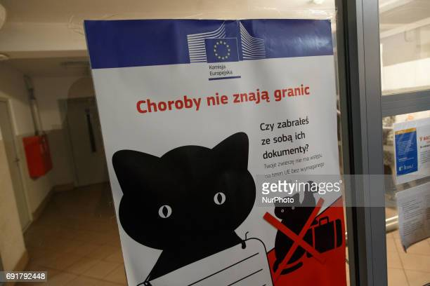 Diseases know no borders is mentioned on a poster urging passengers to take official documents for their pets with them in Terespol station on 2 June...