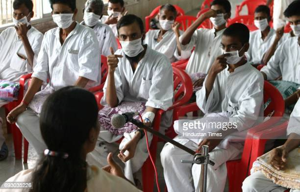 Diseases Patients with Tuberculosis undergoing Yoga therapy at Sewri Hospital on Friday