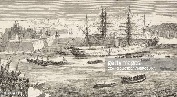Disembarkation of British troops from HMS Crocodile and Euphrates at Malta the reinforcements of the Mediterranean garrisons illustration from the...