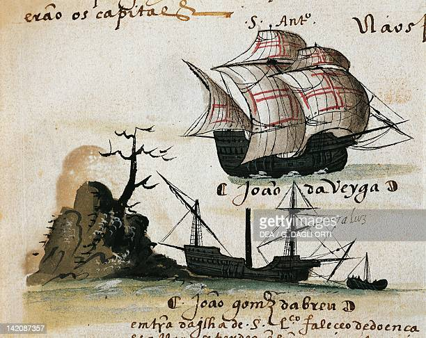 Disembarking from a Portuguese caravel from from the Memory of Armadas manuscript