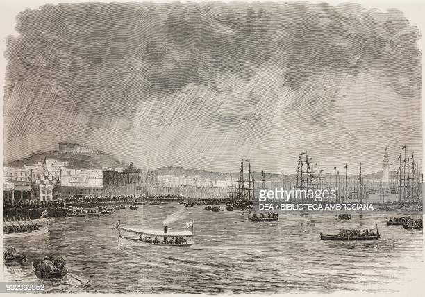 Disembarking from the SS Vega ship in the military port of Naples Italy engraving from L'Illustrazione Italiana No 9 February 29 1880