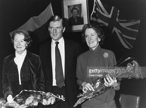 Disgraced former Cabinet Minister Cecil Parker and his wife Ann with MP's widow Lady Airey Neave at the Polish Club in London January 24th 1986
