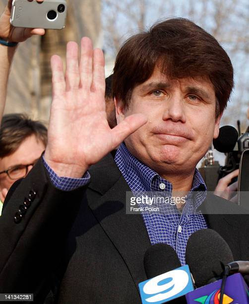 Disgraced former Illinois Governor Rod Blagojevich before giving a news conference outside his home March 14 2012 in Chicago Blagojevich must report...