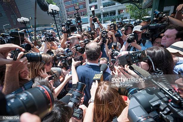 Disgraced former NYS Governor Eliot Spitzer greets the media in Union Square Park in New York on the first day of his recently announced comeback to...