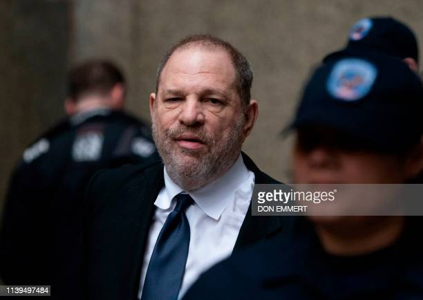 Disgraced Hollywood mogul Harvey Weinstein leaves the State Supreme Court on April 26, 2019 in New York, after a break in a pre-trial hearing over...