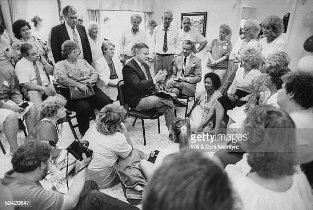 Disgraced PTL Minister Jim Bakker giving his first sermon to supporters in the offices of the Bring Bakkers Back organization located next to the...