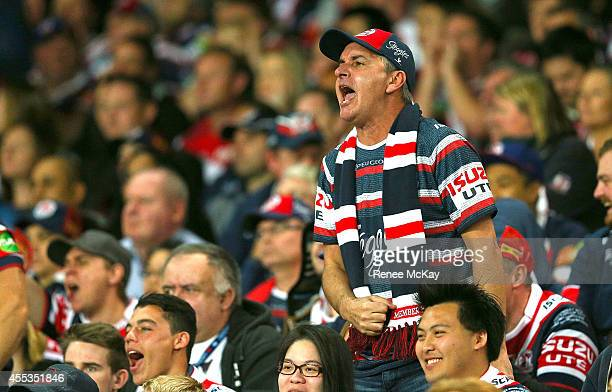 A disgruntled Roosters fan yells to the referee during the NRL 1st Qualifying Final match between the Sydney Roosters and the Penrith Panthers at...
