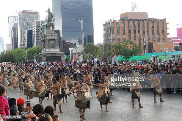 Disguised people parade during the Day of the Dead celebration in the third Big Parade in Mexico City on October 27 2018 The parade is promoted by...