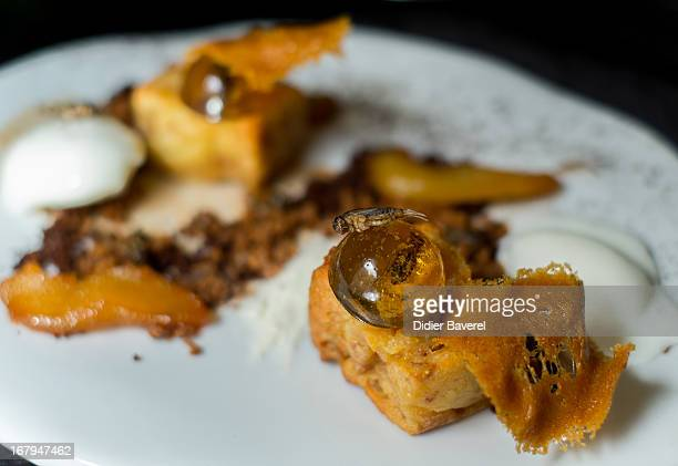 A dish 'Inclusion de grillons en bubble au Whisky' 'Crickets caught in a whisky jelly bubble' is displayed on May 2 2013 in Nice France Crickets and...