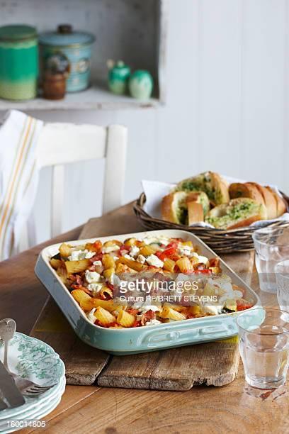 Dish of bacon pasta bake